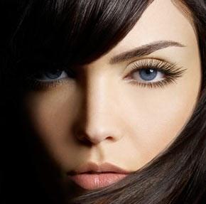 Example of perfectly applied false eyelashes