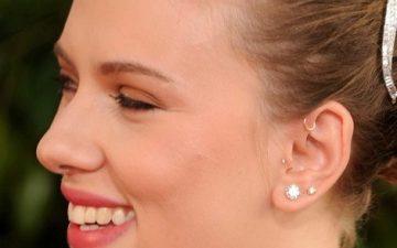 Pinna Piercing example with Scarlett Johannson