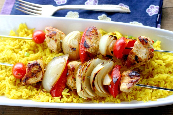 Finished smoked Paprika and Thai Chili Chicken Kebobs with Turmeric Rice