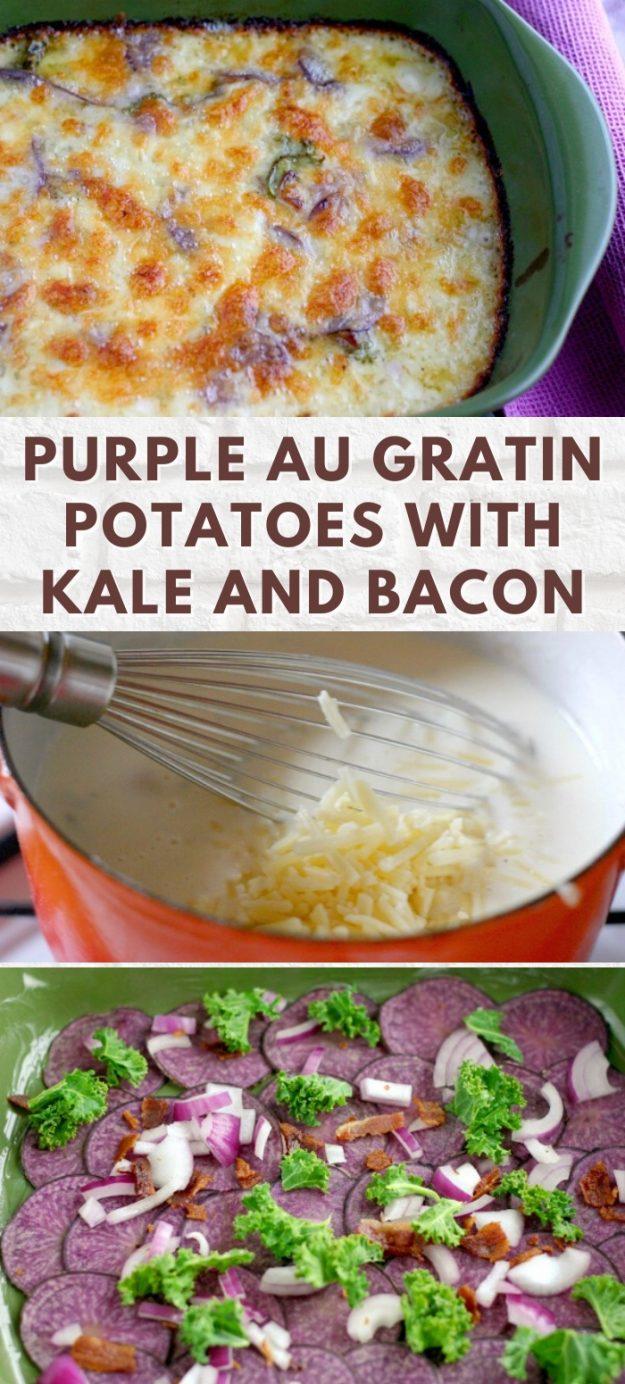 Purple au Gratin Potatoes with Kale and Bacon Recipe