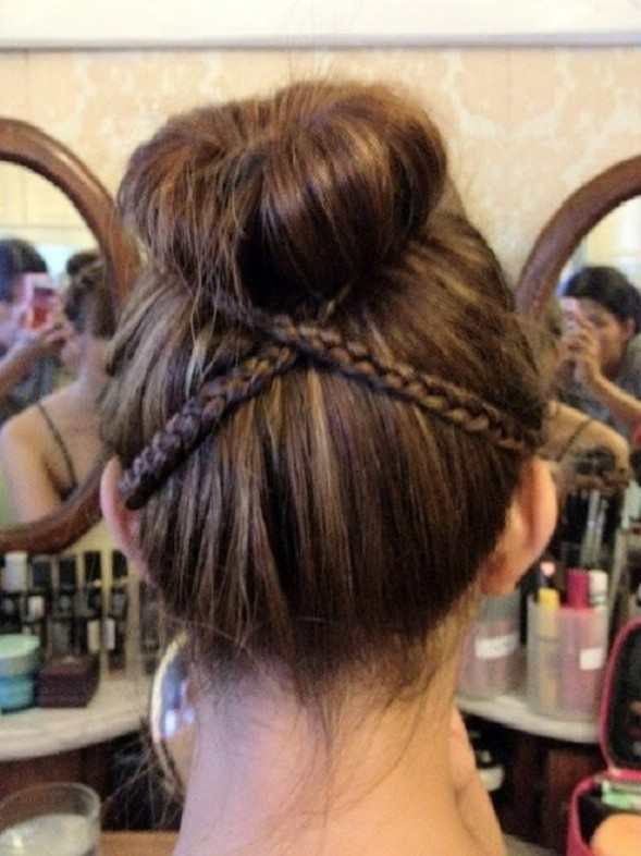 cross braid around bun