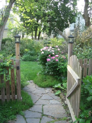 Beautiful flower garden entrance