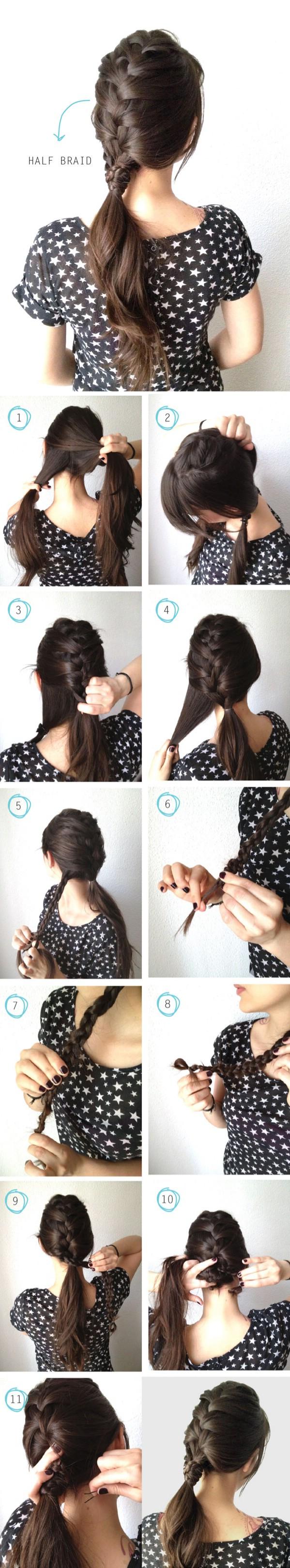 French half braid with braided wrap