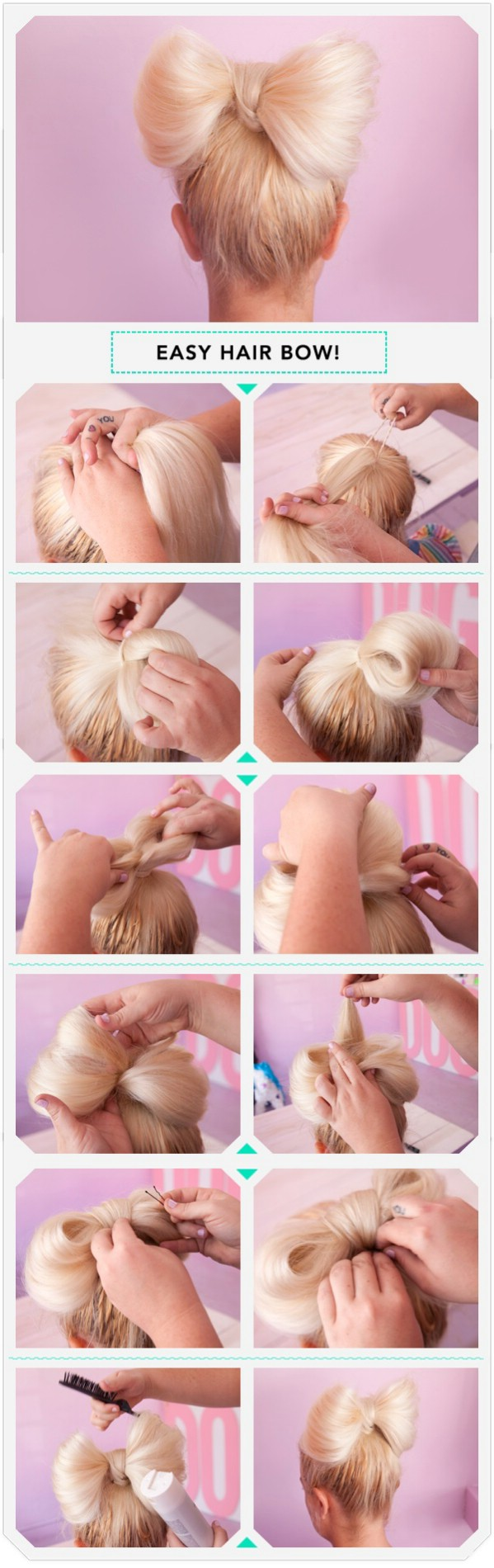 Step by step hair bow creating process