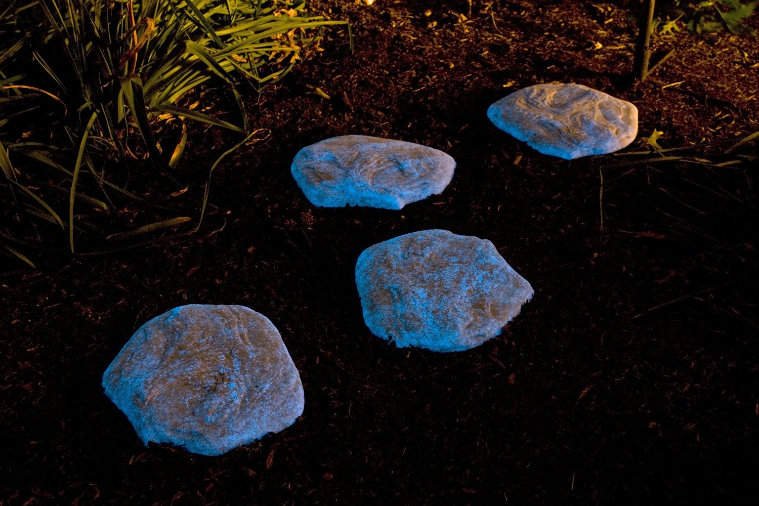 Easy diy pathways with glow in the dark rocks women 39 s for Spray paint rocks for garden