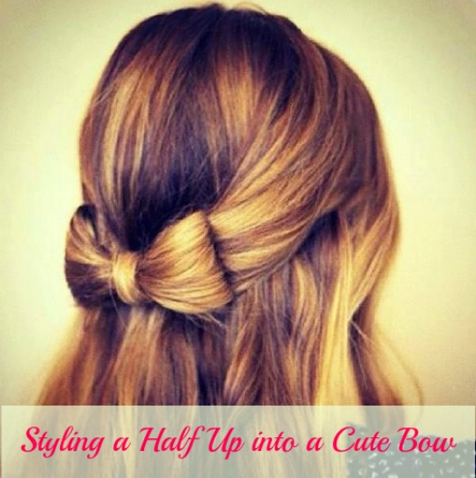 Bow half-up hairstyle tutorial