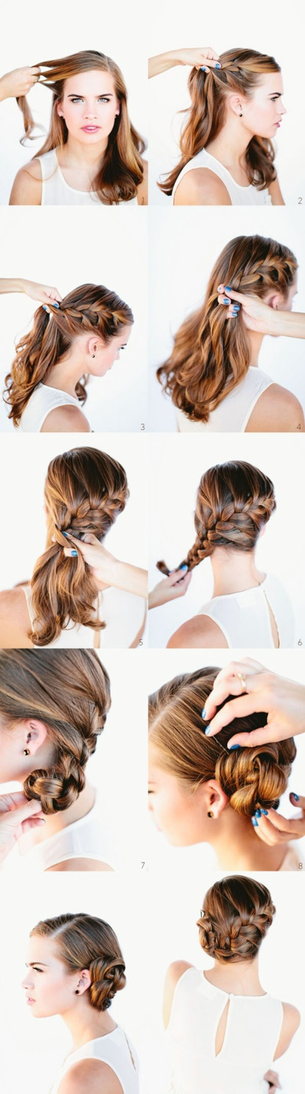French braid into a bun step by step tutorial