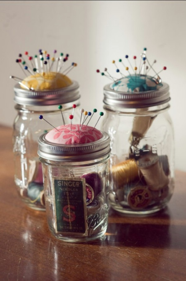DIY pincushions mason jars