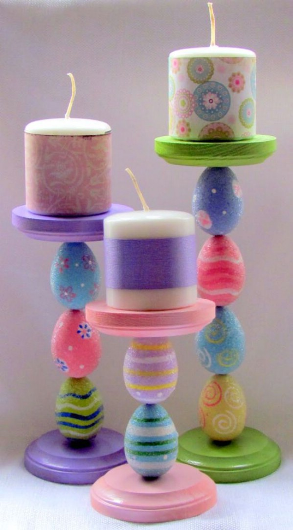 Easter egg made candlesticks