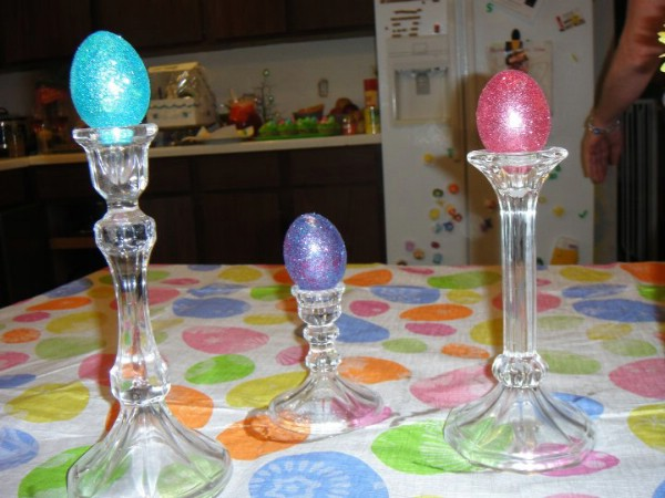 Elegant Easter candlestick eggs