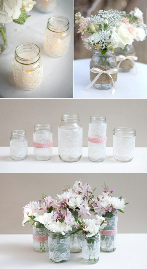 Lovely wedding decor out of mason jars