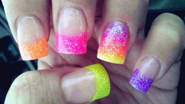 Neon gel nail design