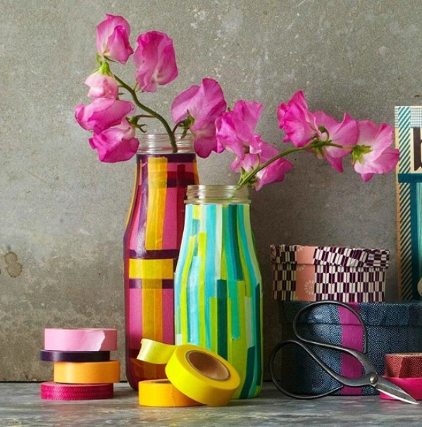 Taped vases easter diy craft
