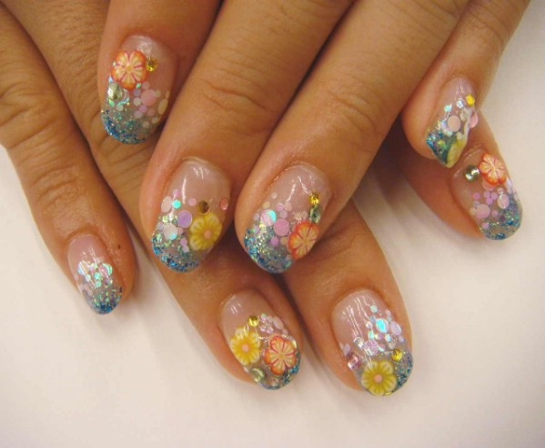 Tropical colors gel nail design