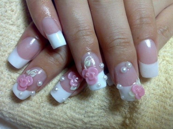 Wedding gel nail design