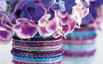 DIY beaded vases
