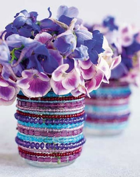 DIY beaded vases