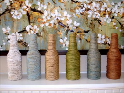 DIY yarn vases