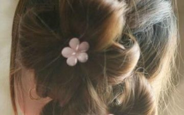 Finished double ponytail updo hairstyle
