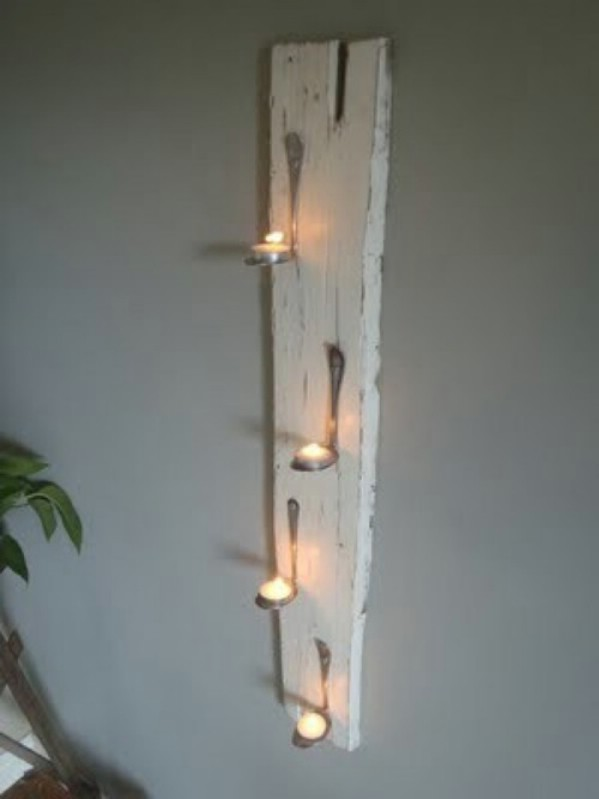 DIY spoon candle holders