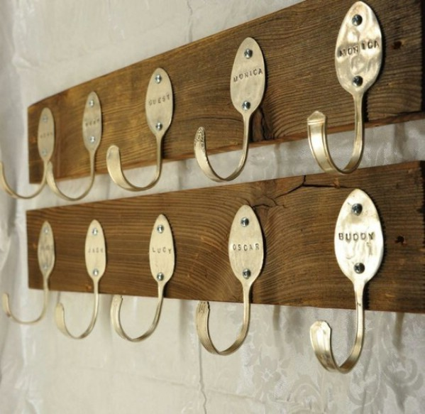 DIY spoon coat hooks