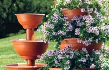 Three tier Terracotta flower stand