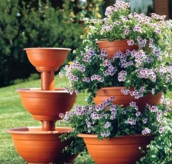Three tier Terracotta flower stand