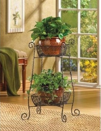 Wire basket flower stand