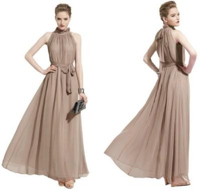 Yacun Women's Fashion Ruffle Neck Sleeveless Chiffon Dress Gown
