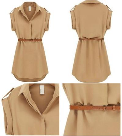 Sheinside Women's Lapel Short Sleeve Loose Chiffon Dress