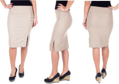 Below Knee Pencil Skirt /w Open Slit, Side Buttons - Great for Casual Office Wear