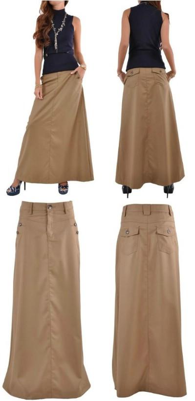 Style J Just Chic Khaki Long Skirt