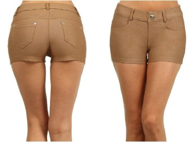 ICONOFLASH Women's Pull on Stretchy Jegging Shorts - Cotton Blend