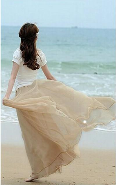 ACEVOG® Bohemian Vintage Chiffon Maxi Skirt for Women 9 Colors Long Beach Dress