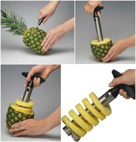 Woodi Stainless Steel Pineapple Easy Slicer and De-corer