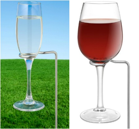 Wine glass outdoor holder