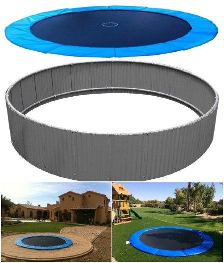 Gen III 15' In-Ground Trampoline max airflow system with blue pad