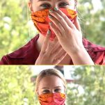 Woman wearing face mask against virus