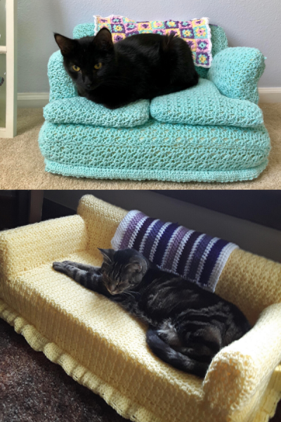 cat crochet couches