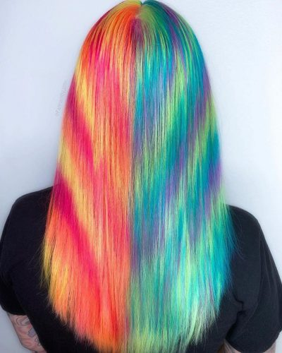 Tie dye inspired holographic hair