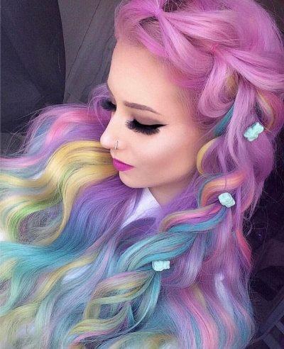 unicorn themed holo hair style