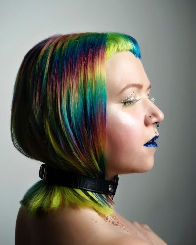 iridescent hair style with extreme makeup