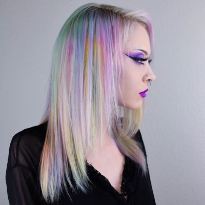 beautiful woman with holographic hair