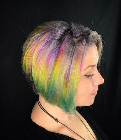 short iridescent hair style