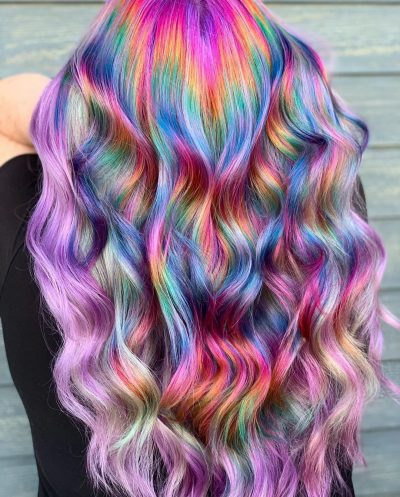 Photo of a beautiful holographic hair
