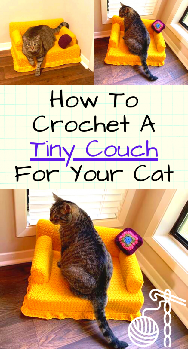 tiny crocheted cat couch