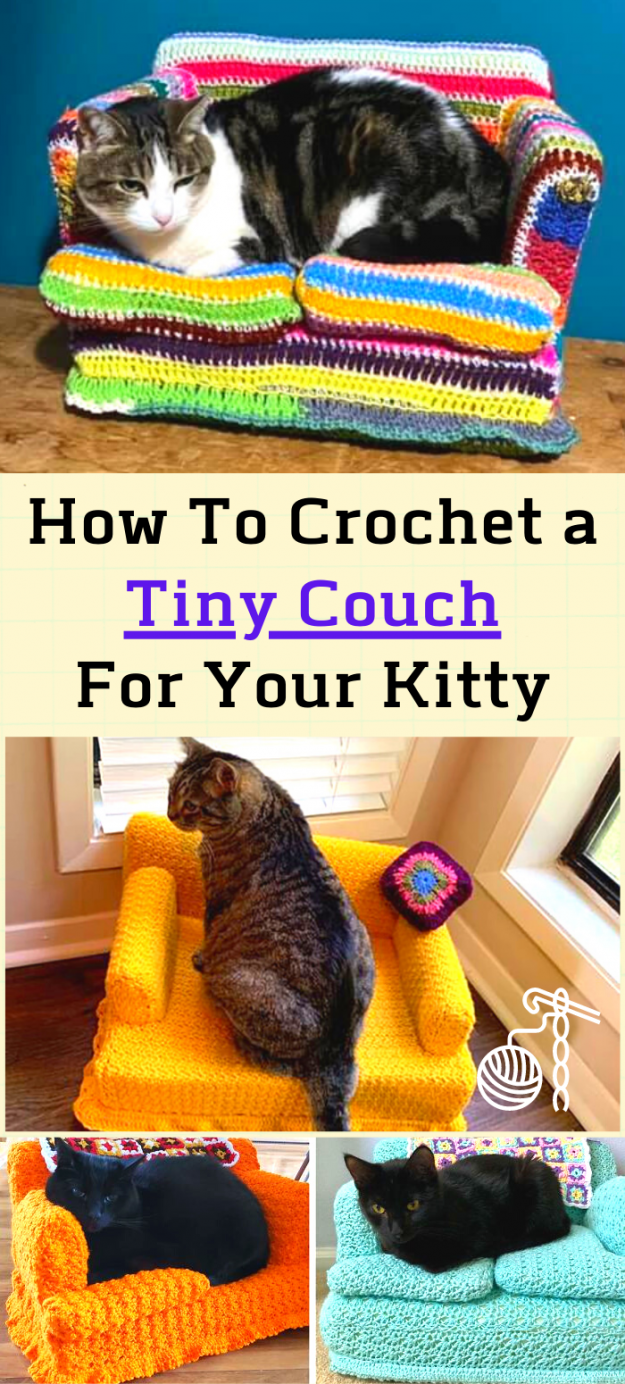 mini crocheted cat couch