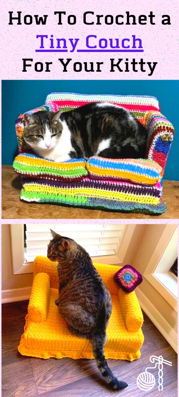 adorable mini crocheted cat couch