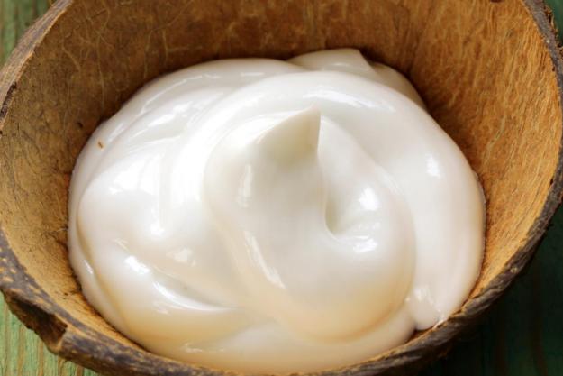 coconut cream in a coconut shell