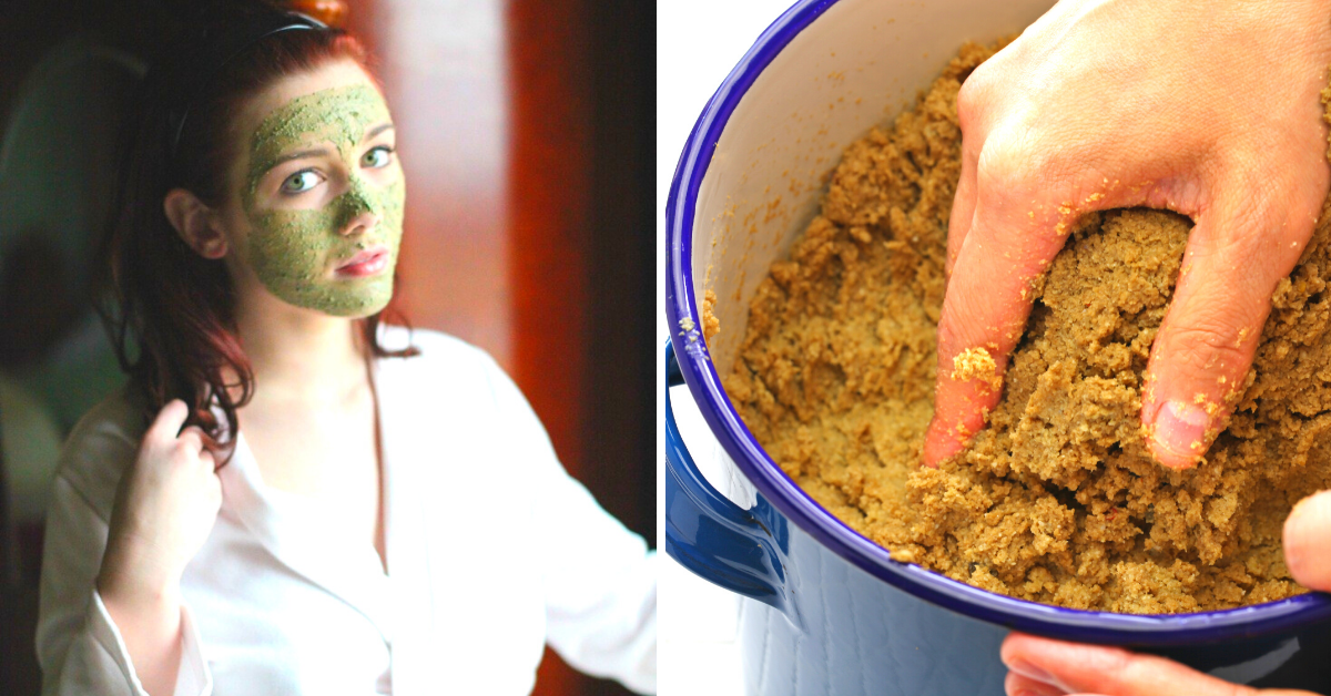 DIY rice bran face mask